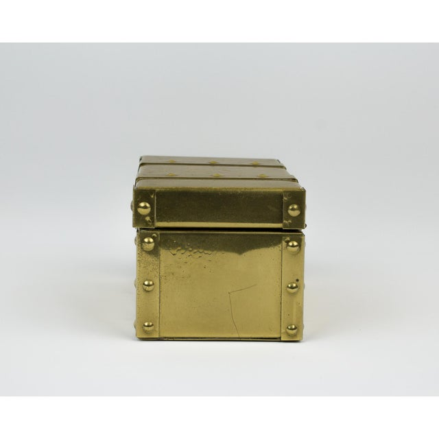 1970s Sarreid Style Miniature Tabletop Brass Trunk For Sale - Image 5 of 12