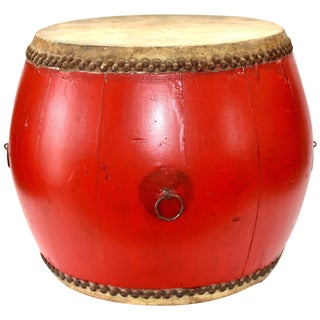Vintage Red Lacquered Drum, Maker's Mark For Sale