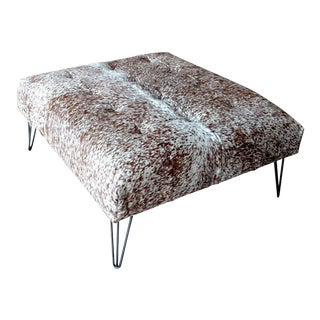 Gambrell Renard Tufted Cowhide Ottoman For Sale