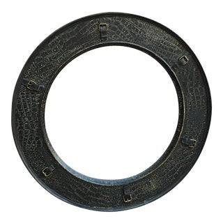 Round Mirror With Buckle Accents