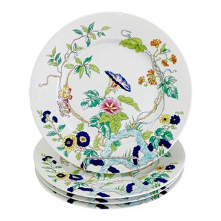 Mid 20th French, Royal Limoges, Paradis, Floral Porcelaine Dinner Plates Set - 4 Pieces For Sale