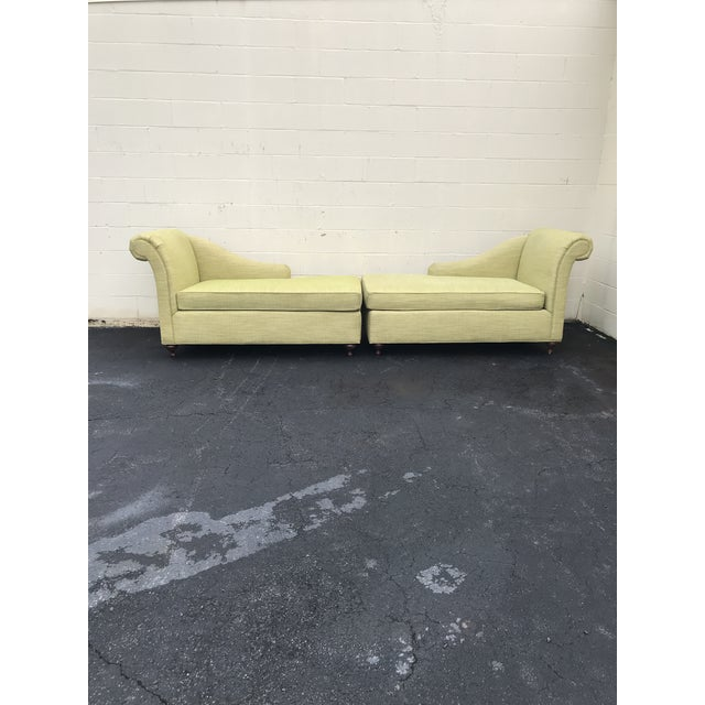 A set of beautiful fainting couches. Right and Left sides and with brown feet. This is two couches included together and...