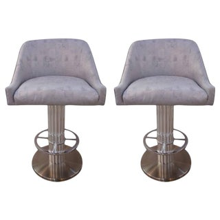 "Art Deco Revival ""Machine Age"" Memory Swivel Chrome Bar Stools - a Pair For Sale"