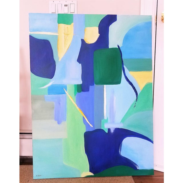 """Blue Christine Frisbee """"Green Door"""" Abstract Painting For Sale - Image 8 of 8"""