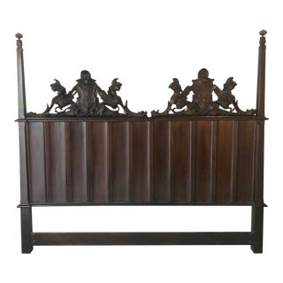 Gothic Carved Walnut King Headboard For Sale