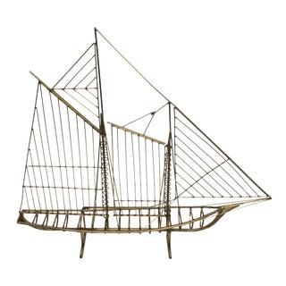 C. Jere Metal Brass Boat Sculpture