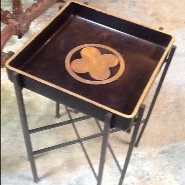 Vintage 1930s Japanese Lacquered Tray W/ Contemporary Metal Stand For Sale - Image 4 of 6