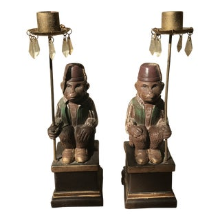 Vintage Moroccan Monkey Candle Holders - a Pair For Sale