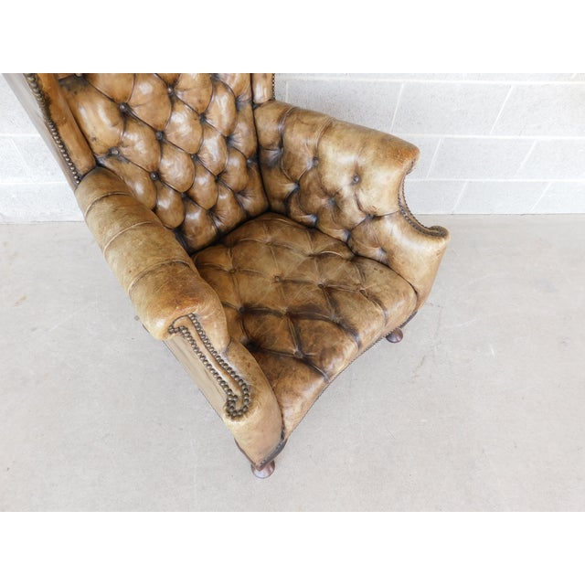 Animal Skin Antique English Tufted Leather Georgian Style Wingback Chair For Sale - Image 7 of 12