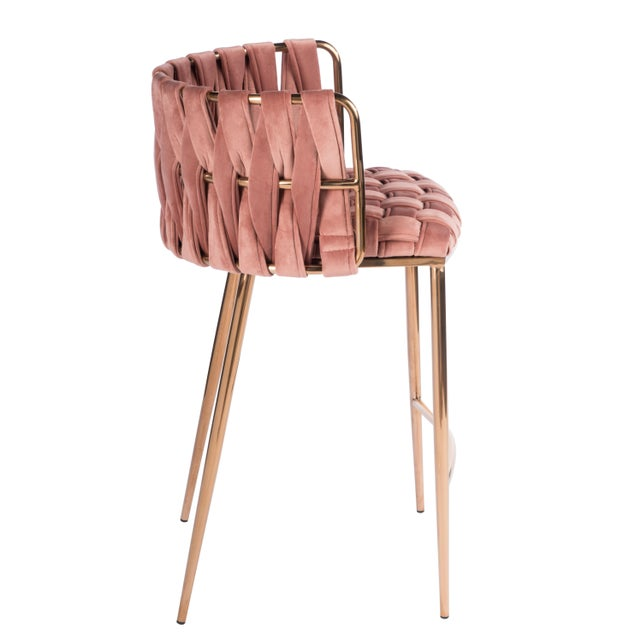Mid-Century Modern Milano Counter Chair in Rose and Gold For Sale - Image 3 of 4