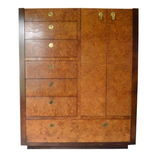 1970s Chinoiserie Century Furniture Olivewood Wardrobe Dresser For Sale