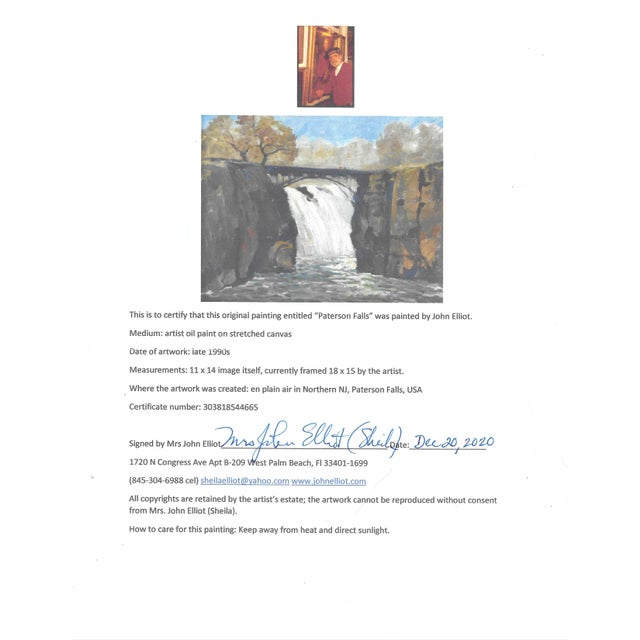 """Vintage Oil Painting """"Paterson Falls"""" John Elliot, Opa For Sale - Image 11 of 12"""