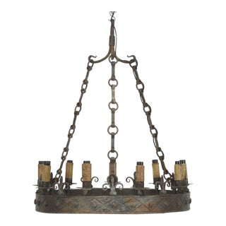 Antique French Hand-Forged Iron Chandelier