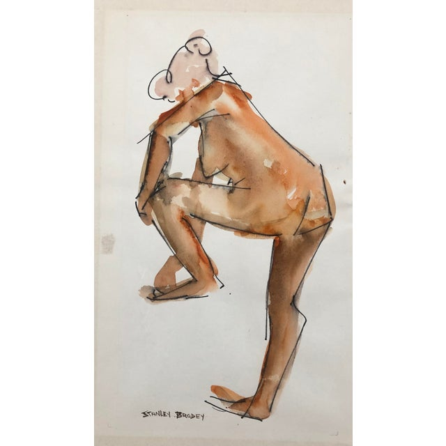 Standing Female Nude by Stanley Brodey, 1950s For Sale - Image 4 of 4