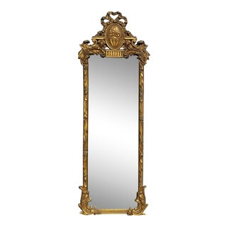 Antique French Provincial Rococo Gold Ornate Slim Wall Mantle Mirror For Sale