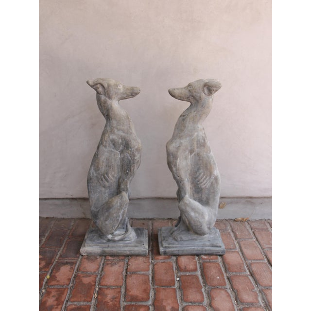 Contemporary Vintage Concrete Weathered Patinated Greyhound Dog Sculptures - a Pair For Sale - Image 3 of 8