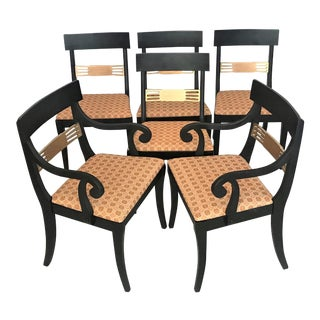 1940s Regency Klismos Parcel Gilt Dining Chairs - Set of 6 For Sale