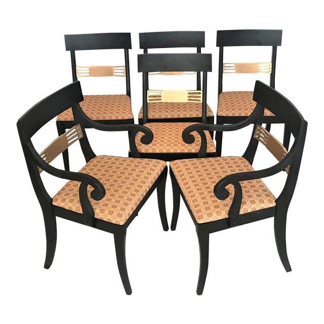 1940s Regency Klismos Parcel Gilt Dining Chairs - Set of 6 For Sale