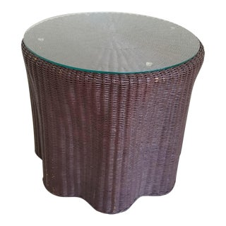 1960s Hollywood Regency Draped Wicker Side Table For Sale