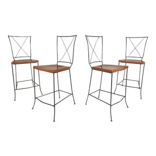 Set of Four Mid-Century Iron and Wood Bar Stools For Sale