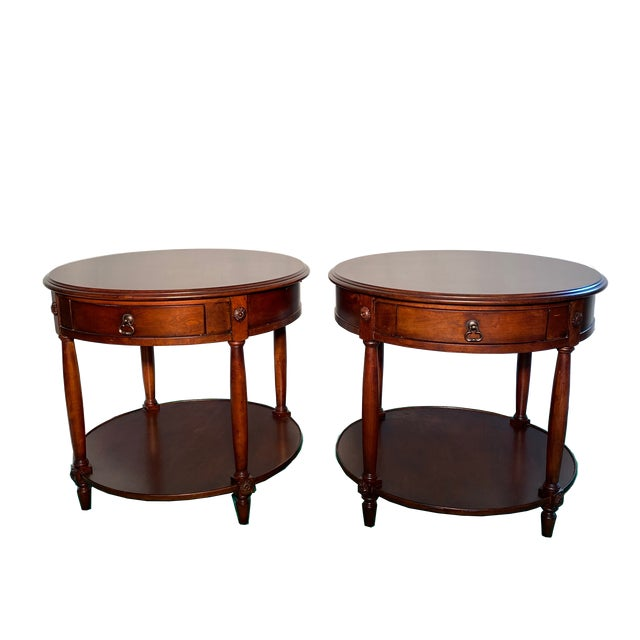 Brown Drexel Heritage Round Occasional Tables - a Pair For Sale - Image 8 of 8