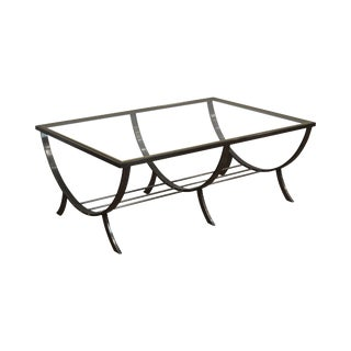 Design Institute of American Dia Brushed Metal Brass & Glass Coffee Table For Sale