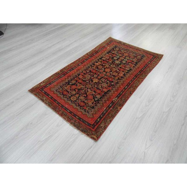 Antique Distresssed Small Persian Malayer Rug - 3′3″ × 5′9″ For Sale - Image 5 of 6