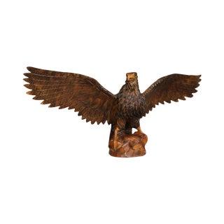 Vintage Hand Carved Wood Winged Eagle Statue For Sale