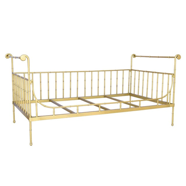 Transitional Twin Size Gold Iron Bed For Sale - Image 3 of 3
