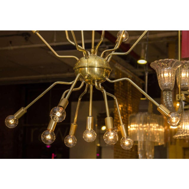 Italian Brass Spider Sputnik Chandelier Pendant Attributed to Arredoluce - Image 7 of 7