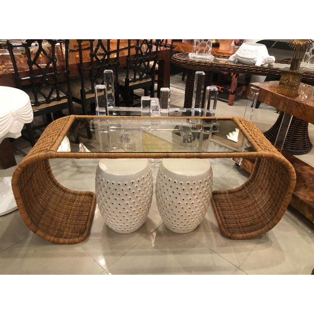 Vintage Scroll Natural Wicker Console Table For Sale - Image 10 of 13
