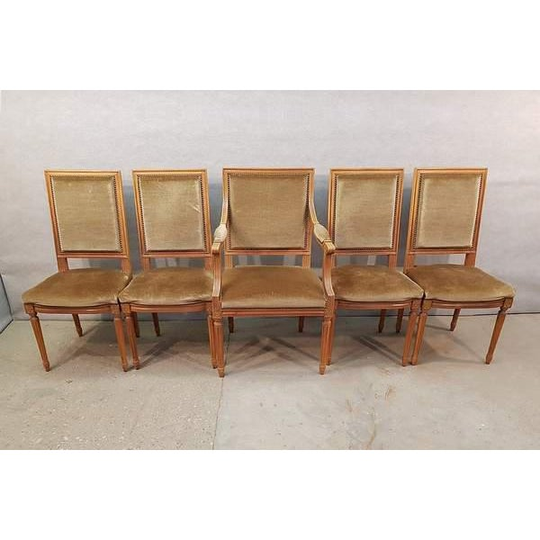Set of Four Louis XVI Style French Square Back Chairs and One Square Back Armchair. Beautiful condition, popular colors,...