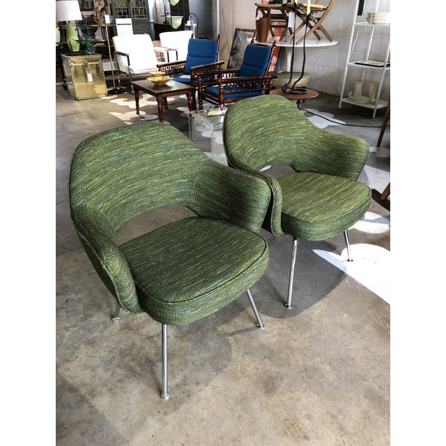 Gorgeous and just about brand new iconic Saarinen armchairs in a great green/blue textured fabric. Chrome tubular legs....