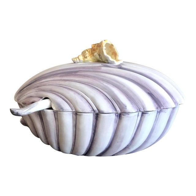 Purple Yellow Italian Pottery Sea Shell Tureen For Sale