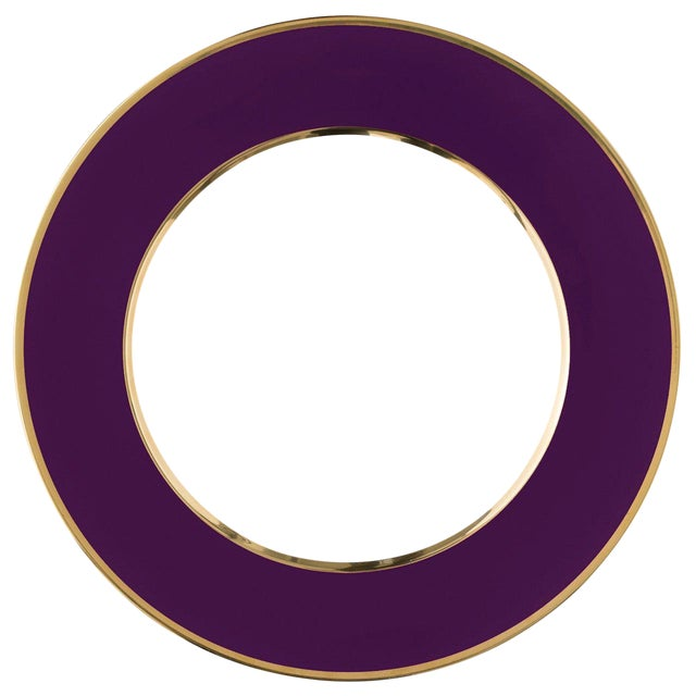 """""""Schubert"""" Charger in Aubergine & Narrow Gold Rim For Sale"""