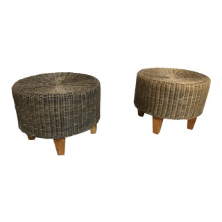 1970s Vintage Wicker Ottomans- A Pair For Sale