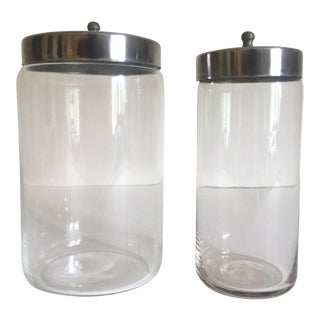 Vintage Glass Stainless Steel Canister Jars - A Pair