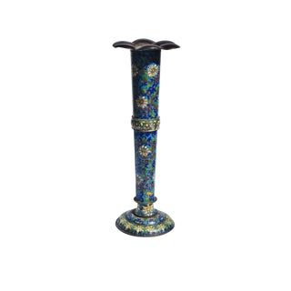 Cloisonne Polychrome Begonia Vase For Sale