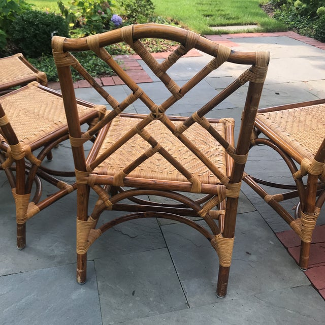 1960s Traditional Bamboo and Rattan Chairs - Set of 4 For Sale - Image 4 of 11