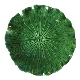 Mid Century Newell Stevens Forest Green Leaf Plate For Sale