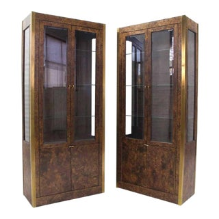 Burl Wood, Brass and Glass Showcase Curio Cabinets - A Pair For Sale