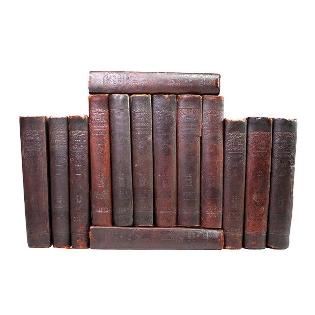 "Antique Edwardian Mahogany Leather-Bound Books Titled: ""Little Journeys. Memorial Edition,"" From 1916 - Set of 14 For Sale"