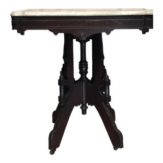 Victorian Eastlake Marble Top Side Table For Sale