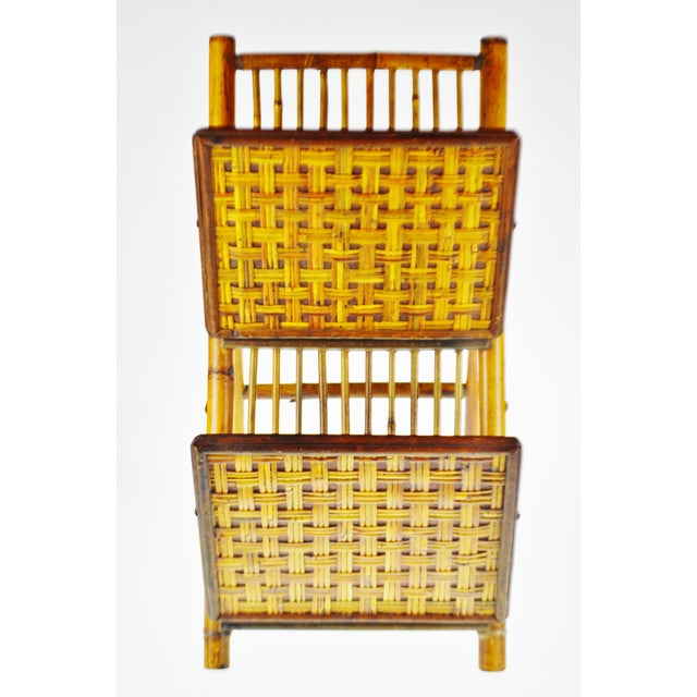 Wood Mid Century Bamboo and Rattan Two Tier Folding Magazine Rack For Sale - Image 7 of 13