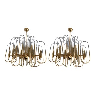 Brass Chandeliers Astrolab by Sciolari. Italy, 1970s For Sale