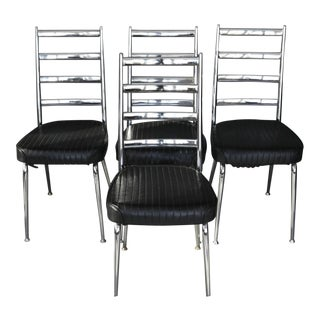 1960s MCM Chromecraft Ladderback Chrome Chairs- Set of 4 For Sale