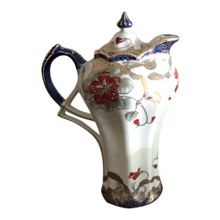 Early 20th Century Antique Art Nouveau Oriental Gilt Porcelain Amphora Pitcher Ewer For Sale