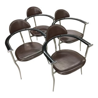 "Arrben Italy Mid-Century ""Marilyn"" Stiletto Chrome & Leather Chairs - Set of 4"