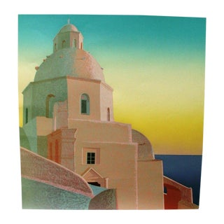 Greek Island Scene Lithograph For Sale