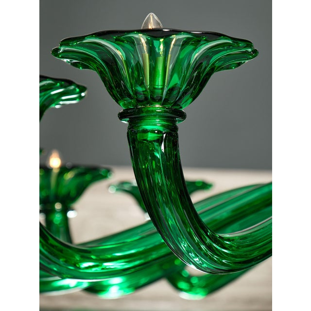2010s Emerald Green Murano Glass Chandelier For Sale - Image 5 of 10